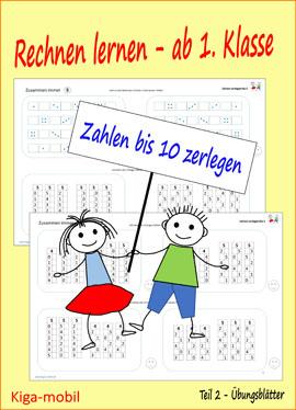 Übungsblätter Rechnen lernen ab der 1. Klasse im Zahlenraum 0 bis 10