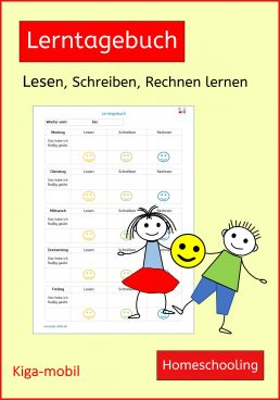 Kostenloses Lerntagebuch - Hilft Eltern bei der Homeschooling Planung für Kinder in der Grundschule ab der 1. Klasse