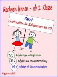 Subtraktion im Zahlenraum bis 20 Arbeitsblätter und Übungen Mathematik Grundschule ab 1. Klasse -Paket