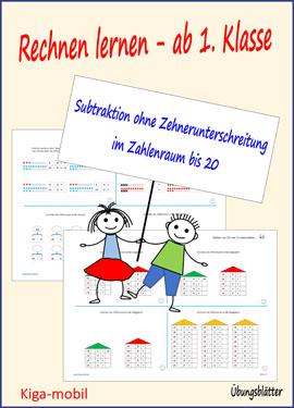 1.Klasse Grundschule Rechnen lernen - Subtraktion ohne Zehnerüberschreitung im Zahlenraum bis 20 – Übungsblätter